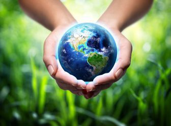 earth in hands - grass background - environment concept